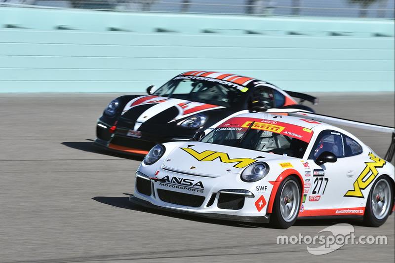 #277 MP1A Porsche GT3 Cup driven by Vinicius Margiota of BRT, #44 MP1B Porsche GT4 Clubsport driven by Bill Handler of P1 Motorsports