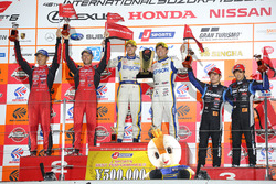 Podium GT500: race winners #64 Nakajima Racing Honda NSX Concept GT: Bertrand Baguette, Kosuke Matsuura, second place #23 Nismo Nissan GT-R Nismo GT3: Tsugio Matsuda, Ronnie Quintarelli, third place, #100 Team Kunimitsu Honda NSX Concept GT: Naoki Yamamoto, Takuya Izawa