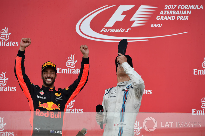 Daniel Ricciardo, Red Bull Racing y Lance Stroll, Williams