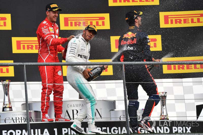 Lewis Hamilton, Mercedes AMG F1, Sebastian Vettel, Ferrari and Daniel Ricciardo, Red Bull Racing celebrate on the podium