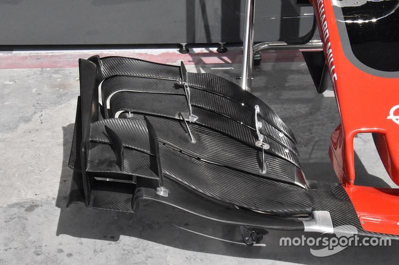 Detalle del alerón delantero del Haas F1 Team VF-17