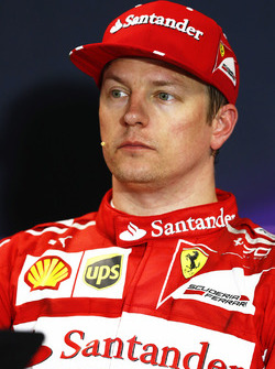 Pole man Kimi Raikkonen, Ferrari, in the post Qualifying Press Conference