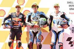 Pole sitter Franco Morbidelli, Marc VDS, second place Miguel Oliveira, Red Bull KTM Ajo, third place Fabio Quartararo, Pons HP 40