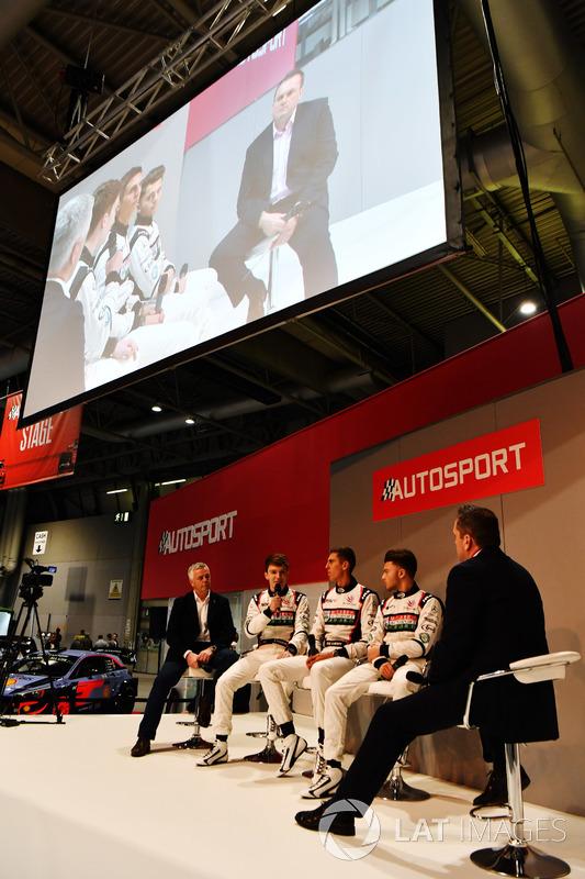 Derek Warwick with Dan Ticktum, Harrison Scott and Max Fewtrell talk to Henry Hope-Frost on the Autosport Stage