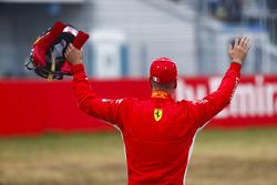 Sebastian Vettel, Ferrari, celebrates his pole position
