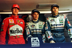 Jacques Villeneuve, Williams, Michael Schumacher, Ferrari, Heinz-Harald Frentzen, Williams all get exactly the same time