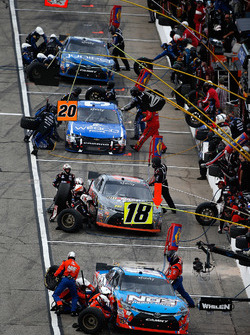 Pit action for Kyle Busch, Joe Gibbs Racing Toyota, Erik Jones, Joe Gibbs Racing Toyota, Ty Dillon, Richard Childress Racing Chevrolet and Daniel Suarez, Joe Gibbs Racing Toyota