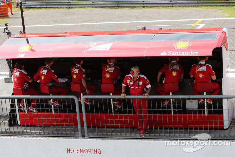 Maurizio Arrivabene, Ferrari Team Principal on the pit gantry