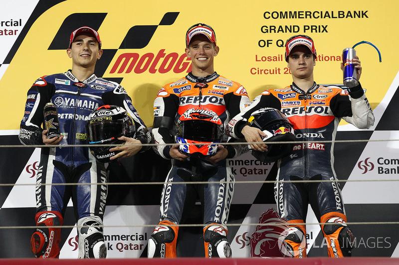 2011: 1. Casey Stoner, 2. Jorge Lorenzo, 3. Dani Pedrosa
