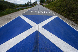 Flag of Scotland on the road