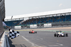 Chequered flag, Logan Sargeant, R-Ace GP, Yifei Ye, Josef Kaufmann Racing