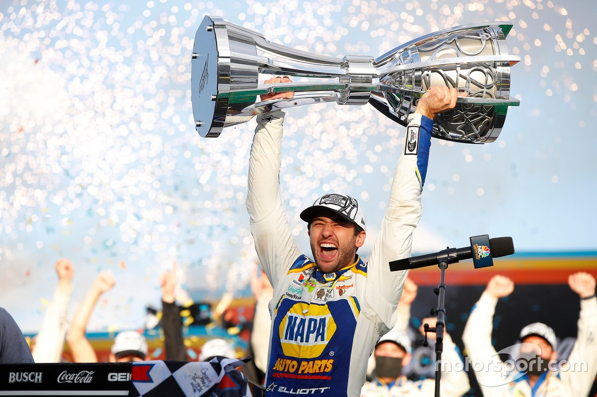 Chase Elliott, Hendrick Motorsports, Chevrolet Camaro NAPA Auto Parts, celebrates after winning the 2020 Nascar Cup Series Championship