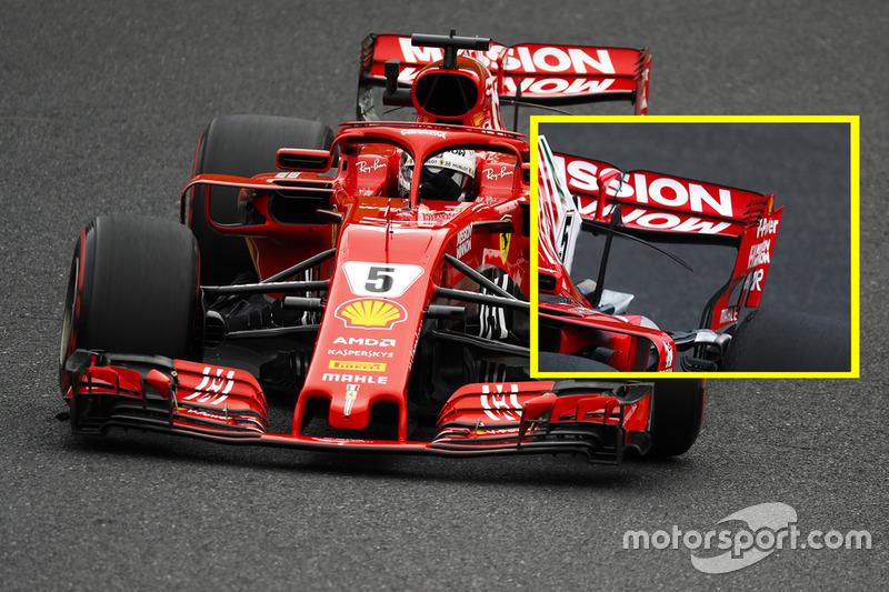Sebastian Vettel, Ferrari SF71H, comparación alerón trasero viernes en Suzuka.