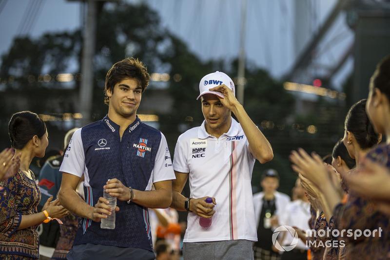 Lance Stroll, Williams Racing y Esteban Ocon, Racing Point Force India F1 Team en el desfile de pilotos