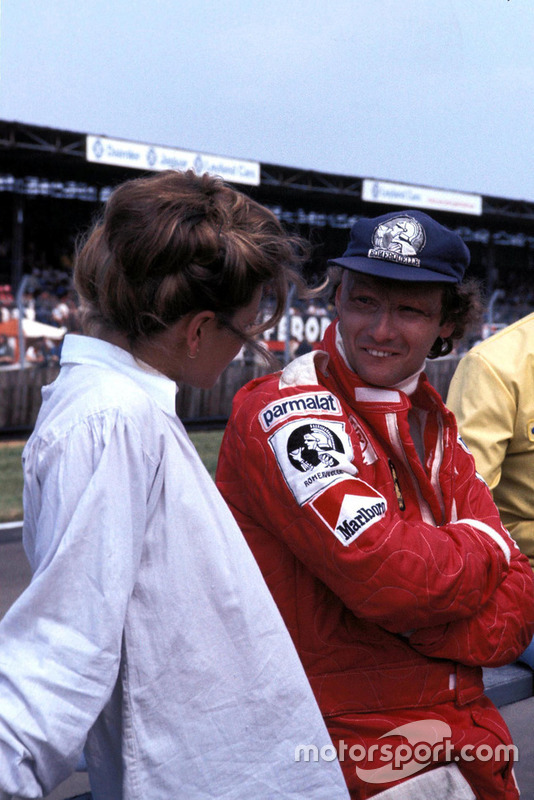 Niki Lauda, Ferrari with his wife Marlene Knaus at British GP