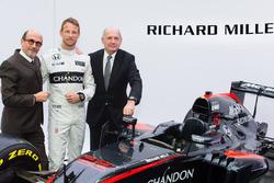 Jenson Button, McLaren met Ron Dennis, voorzitter en CEO McLaren Technology Group en Richard Mille,
