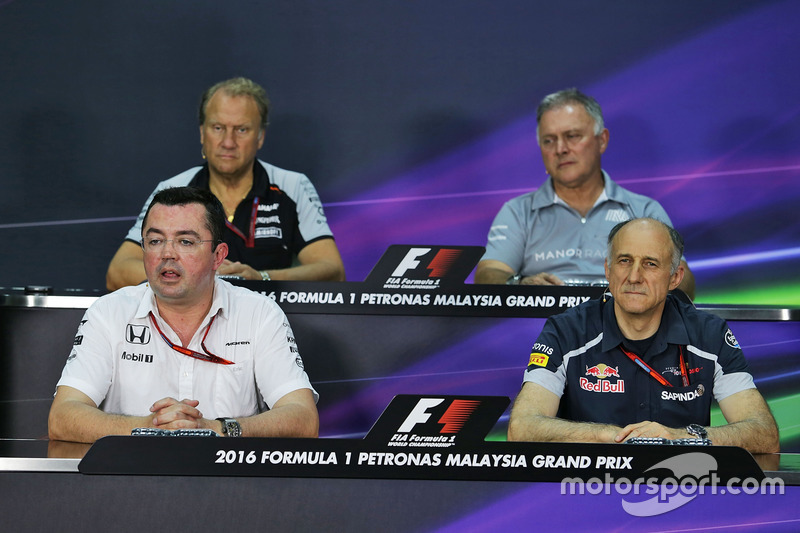 The FIA Press Conference (From back row (L to R)): Robert Fernley, Sahara Force India F1 Team Deputy Team Principal; Dave Ryan, Manor Racing Racing Director; Eric Boullier, McLaren Racing Director; Franz Tost, Scuderia Toro Rosso Team Principal