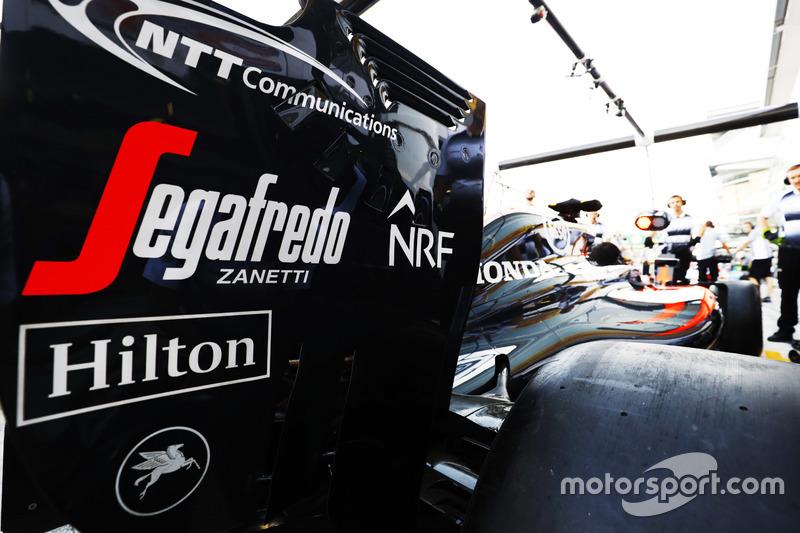 McLaren rear-wing detail in the garage