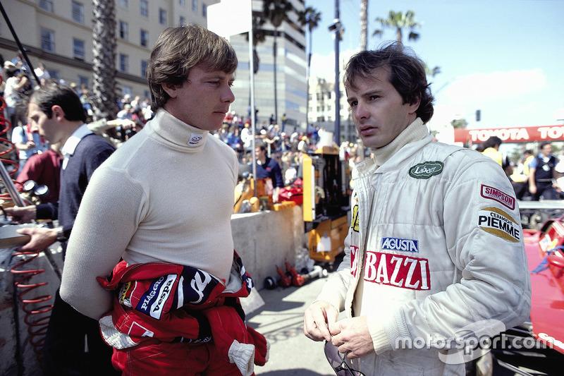 Compañeros de Ferrari Didier Pironi y Gilles Villeneuve