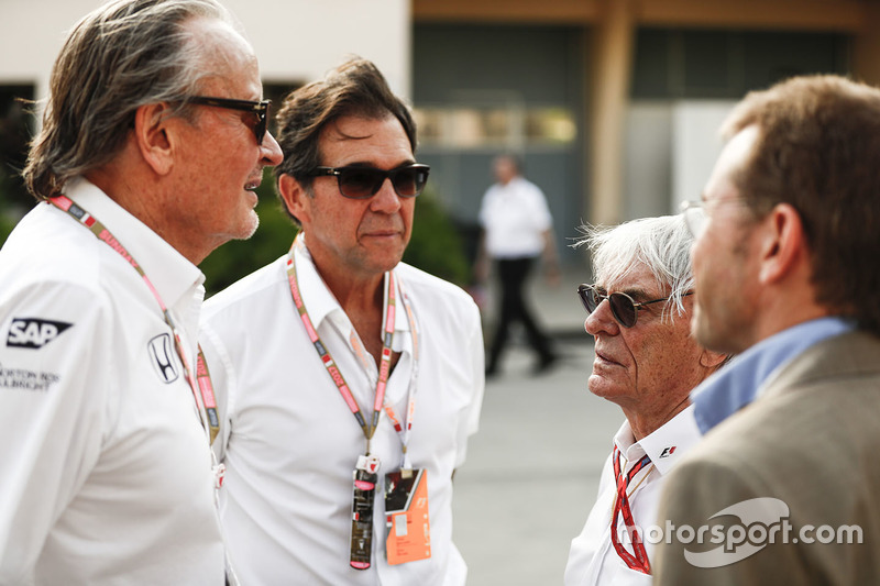 Mansoir Ojjeh, CEO, TAG, with Bernie Ecclestone, Chairman Emiritus of Formula 1, and guests