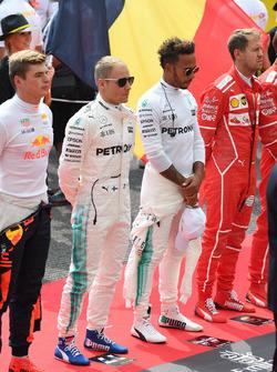 Max Verstappen, Red Bull Racing, Valtteri Bottas, Mercedes AMG F1, Lewis Hamilton, Mercedes AMG F1 and Sebastian Vettel, Ferrari