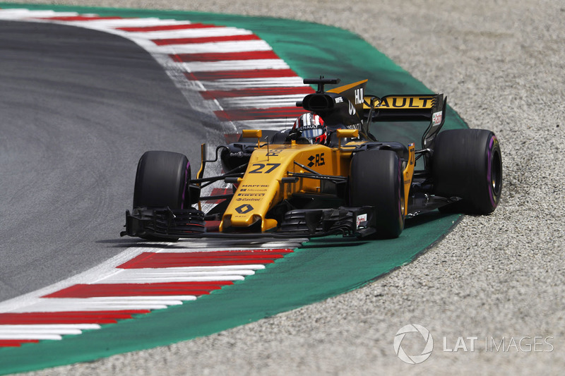 Ніко Хюлькенберг, Renault Sport F1 Team RS17, на виході зі заносу
