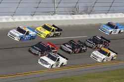 Johnny Sauter, GMS Racing, Chevrolet; Ben Rhodes, ThorSport Racing, Toyota; Brett Moffitt, Red Horse Racing, Toyota
