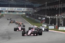 Sergio Perez, Sahara Force India F1 VJM10, Lance Stroll, Williams FW40, Esteban Ocon, Sahara Force India F1 VJM10, Felipe Massa, Williams FW40