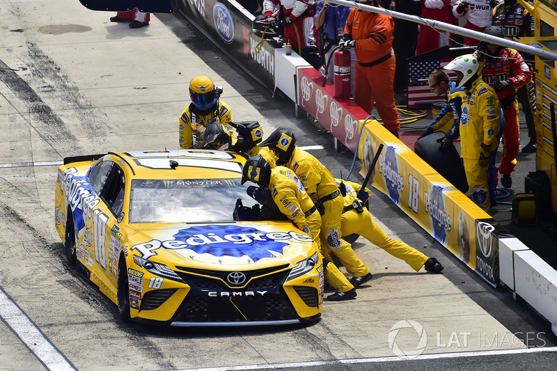 Kyle Busch, Joe Gibbs Racing Toyota, makes a pit stop