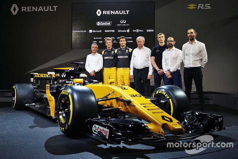 Bob Bell, Nico Hülkenberg, Jolyon Palmer, Jerome Stoll, Sergey Sirotkin, Thierry Koskas, Cyril Abiteboul und der Renault RS17