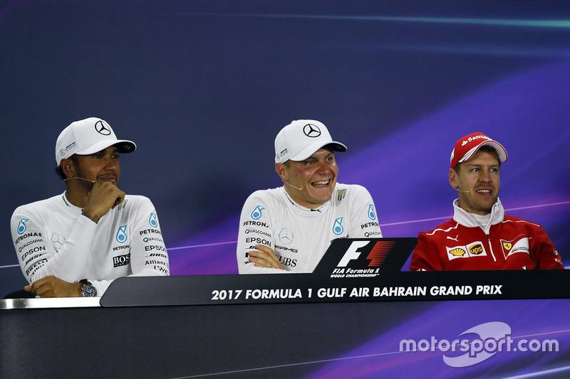 Press conference with polesitter Valtteri Bottas, Mercedes AMG, second place Lewis Hamilton, Mercedes AMG, third place Sebastian Vettel, Ferrari