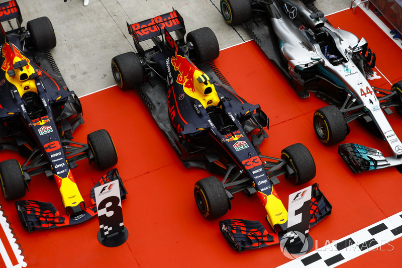 The cars of Max Verstappen, Red Bull Racing RB13, race winner, Lewis Hamilton, Mercedes AMG F1 W08, second place, Daniel Ricciardo, Red Bull Racing RB13, third place, in Parc Ferme