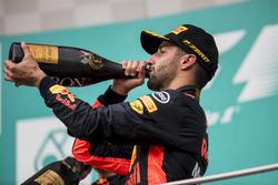 third place Daniel Ricciardo, Red Bull Racing, celebrates, Champagne on the podium