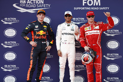 Pole winner Lewis Hamilton, Mercedes AMG, second place Kimi Raikkonen, Ferrari, third place Max Verstappen, Red Bull Racing