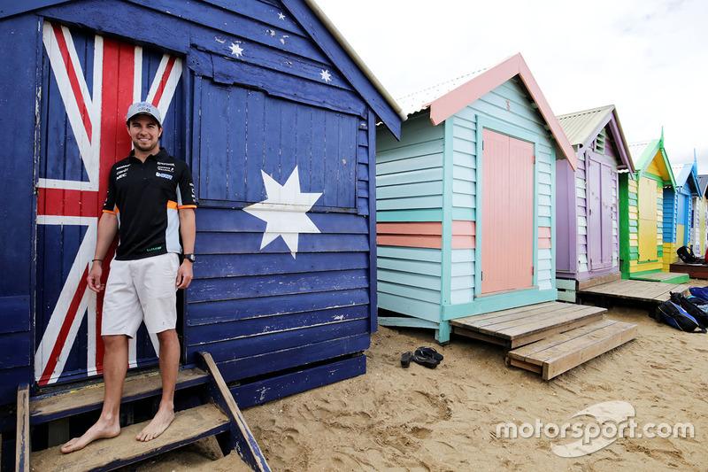 Sergio Perez, Sahara Force India F1, am Brighton Beach