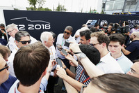 Ross Brawn and Charlie Whiting talk to the media
