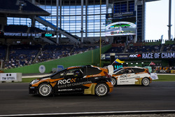Juan Pablo Montoya, races Tom Kristensen, driving theRX Supercar Lite