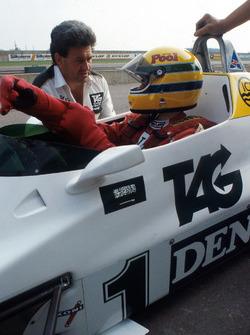 Первые тесты Сенны в Ф1 за рулем Williams FW08C: Айртон Сенна, Фрэнк Уильямс и Аллан Чаллис