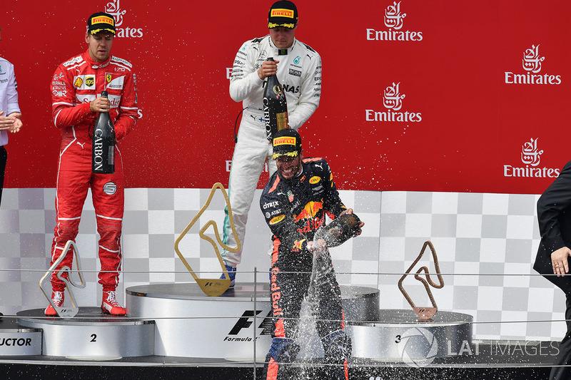 Переможець гонки гонки Валттері Боттас, Mercedes AMG F1, друге місце Себастьян Феттель, Ferrari, третє місце Даніель Ріккардо, Red Bull Racing