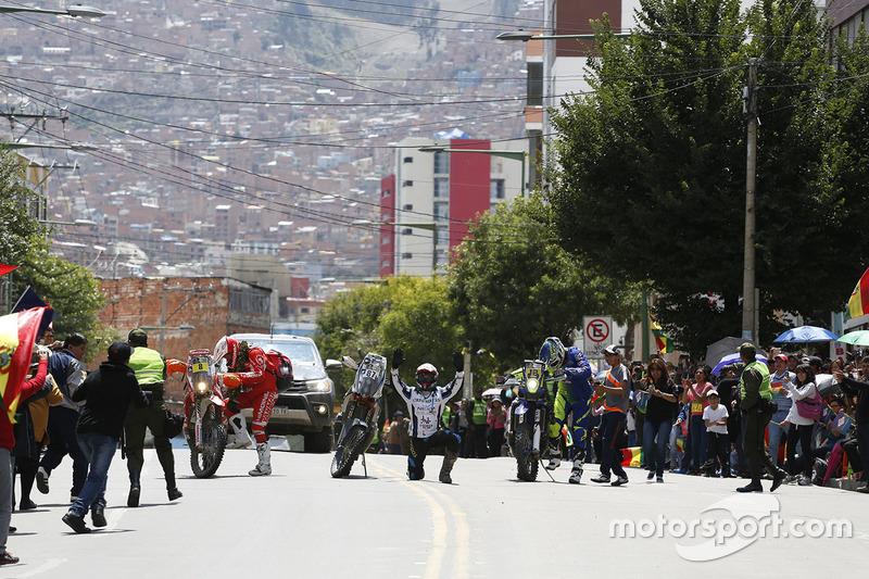 #8 Himoinsa Racing Team KTM: Gerard Farrés, #87 Team Pedrega KTM: Cristian España, #12 Sherco TVS Rally Factory: Joan Pedrero