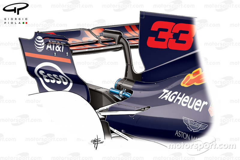 Red Bull RB13 rear wing, Max Verstappen's car, Belgium GP