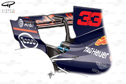 Red Bull RB13 rear wing, Max Verstappen's car, Belgium GP