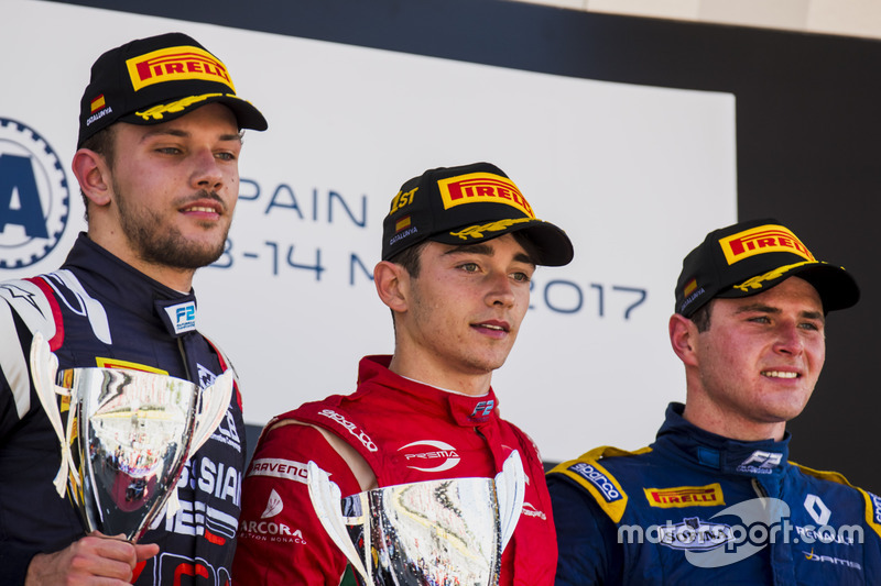 Podium: race winner Charles Leclerc, PREMA Powerteam, second place Luca Ghiotto, RUSSIAN TIME, third place Oliver Rowland, DAMS