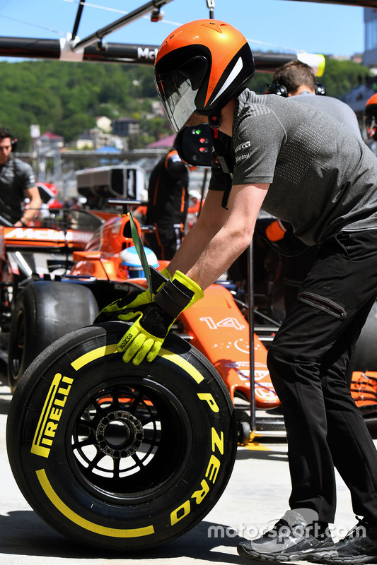 McLaren mechanic and Pirelli tyre