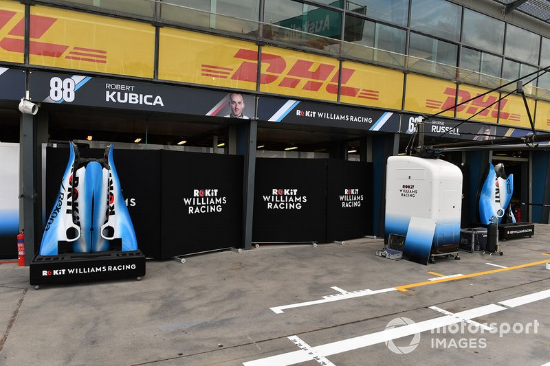 Bodywork outside of the Robert Kubica, Williams Racing, and George Russell garages
