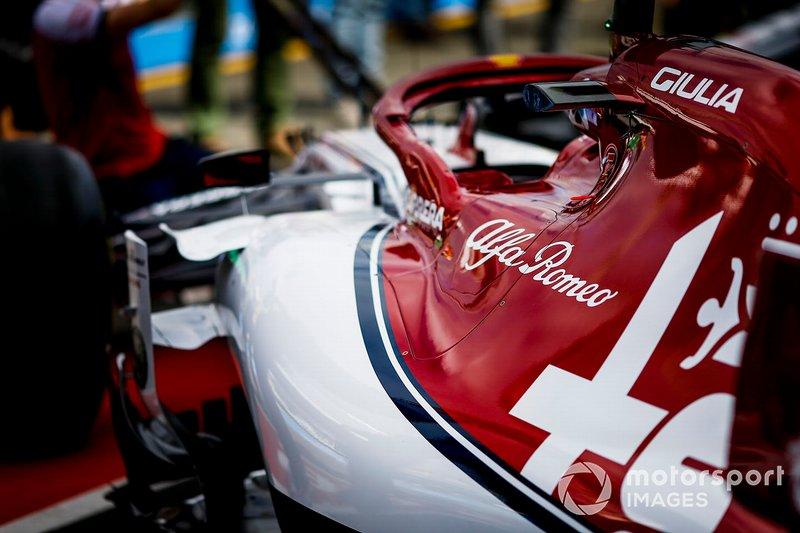 The Alfa Romeo Racing C38 in the garage