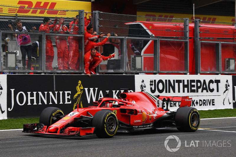 Vettel celebrates victory in typical style