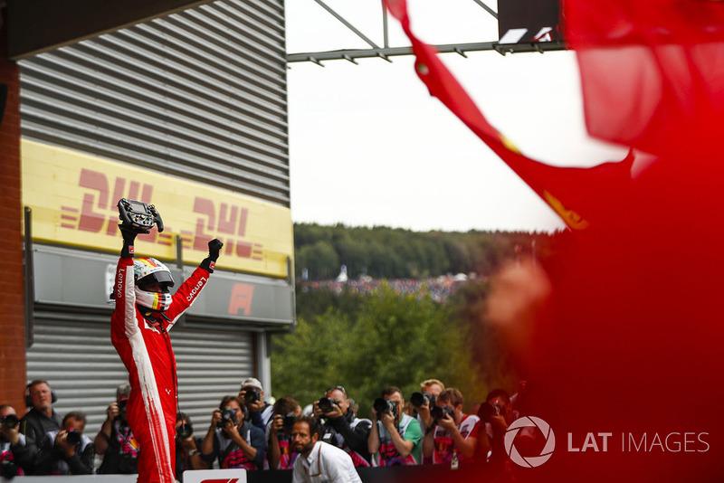 Sebastian Vettel, Ferrari, tras la victoria