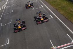 Daniel Ricciardo, Red Bull Racing RB7, Max Verstappen, Red Bull Racing RB8, and David Coulthard, Red Bull Racing RB7