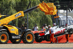 Romain Grosjean, Haas F1 Team, after the crash